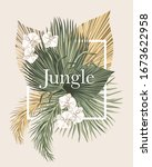 boho bouquet dried palm leaves... | Shutterstock .eps vector #1673622958