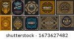 mega set of 10 vintage labels.... | Shutterstock .eps vector #1673627482