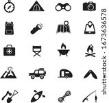 camping icons on white... | Shutterstock .eps vector #1673636578