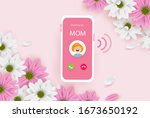 incoming call from mom. happy... | Shutterstock .eps vector #1673650192