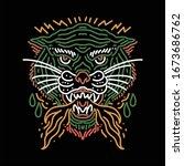 beast tattoo line art vector...   Shutterstock .eps vector #1673686762