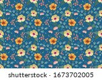 colorful hand draw flowers on... | Shutterstock .eps vector #1673702005