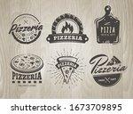 pizza logos. set of pizzeria... | Shutterstock .eps vector #1673709895