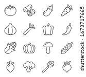 veggie line icons set vector...   Shutterstock .eps vector #1673717665