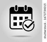 flat design calendar icon  add... | Shutterstock .eps vector #1673734015