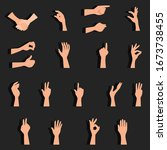 vector set of hand gestures.... | Shutterstock .eps vector #1673738455