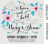 wedding invitation  thank you... | Shutterstock .eps vector #167374082