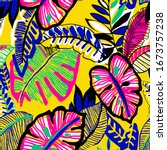 hand drawn abstract tropical... | Shutterstock .eps vector #1673757238