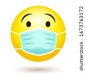 smile emoji wearing a... | Shutterstock .eps vector #1673763172