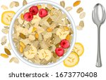 rolled oats with bananas...   Shutterstock .eps vector #1673770408