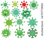 set of coronavirus virus cell... | Shutterstock .eps vector #1673772832