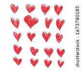 doodle hearts  hand drawn love... | Shutterstock .eps vector #1673780185