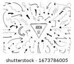 arrows hand drawn set. dotted... | Shutterstock .eps vector #1673786005