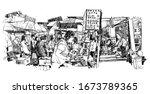 people in a food market in... | Shutterstock .eps vector #1673789365
