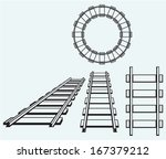 set railroad isolated on blue... | Shutterstock .eps vector #167379212