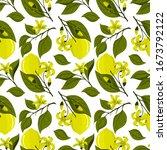 lemon seamless pattern.... | Shutterstock .eps vector #1673792122