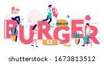 burger  snack food typography... | Shutterstock .eps vector #1673813512