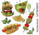 a large set of vegetarian fast... | Shutterstock .eps vector #1673838805
