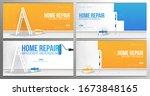 set of home repair banners.... | Shutterstock .eps vector #1673848165