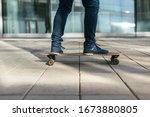Stylish Skateboarder In Jeans...