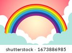 color rainbow with clouds and... | Shutterstock .eps vector #1673886985