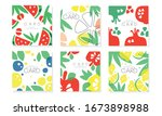 collection of cards with juicy...   Shutterstock .eps vector #1673898988