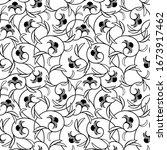abstract flowers black seamless ...   Shutterstock . vector #1673917462