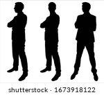 set of three  man stands...   Shutterstock .eps vector #1673918122