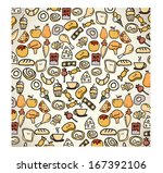 bakery design over pattern ... | Shutterstock .eps vector #167392106