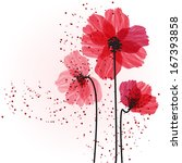 Stylized Red Flowers. Abstract...