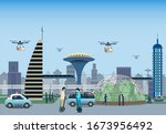 renewable electrified city... | Shutterstock .eps vector #1673956492