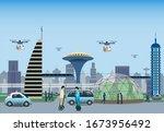 renewable electrified city... | Shutterstock .eps vector #1673956492