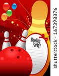 A vector illustration of bowling party invitation template - stock vector