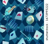 alice in wonderland. playing... | Shutterstock .eps vector #1673995222