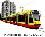 City Transport. Tram. Colored...