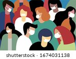 people wearing face mask to... | Shutterstock .eps vector #1674031138
