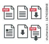 pdf file download icon.... | Shutterstock .eps vector #1674038848