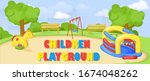 kids playground. park and... | Shutterstock .eps vector #1674048262