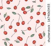 vector seamless fruit pattern.... | Shutterstock .eps vector #1674065455