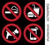 no smoking  no food or drink ... | Shutterstock .eps vector #1674069892