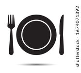 plate  fork and knife icon.... | Shutterstock .eps vector #1674071392