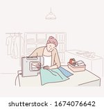 smiling young girl sewing on a... | Shutterstock .eps vector #1674076642