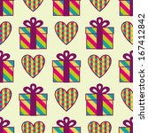 seamless pattern with gift... | Shutterstock .eps vector #167412842