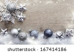 christmas decorations on wooden ... | Shutterstock . vector #167414186