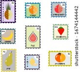stylized set of postage stamps...   Shutterstock .eps vector #1674144442