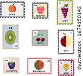 stylized set of postage stamps...   Shutterstock .eps vector #1674150142