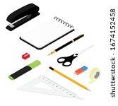 isometric office stationery set....   Shutterstock .eps vector #1674152458