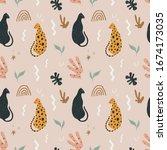 cute leopards seamless pattern. ... | Shutterstock .eps vector #1674173035