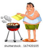 man making a barbecue | Shutterstock .eps vector #167420105