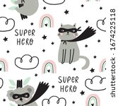 seamless pattern with cat super ... | Shutterstock .eps vector #1674225118